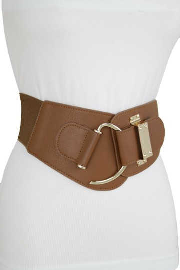 Alwaystyle4you Women Belt Wide Elastic Band Brown Hip Waist Gold Hook Buckle Size S M Image 3