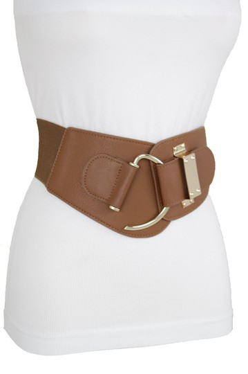 Alwaystyle4you Women Belt Wide Elastic Band Brown Hip Waist Gold Hook Buckle Size S M Image 4