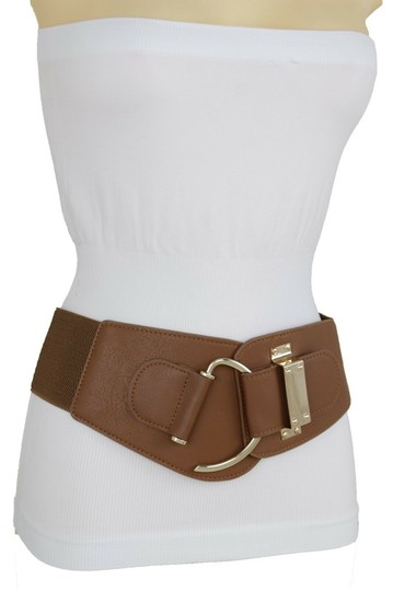 Alwaystyle4you Women Belt Wide Elastic Band Brown Hip Waist Gold Hook Buckle Size S M Image 6