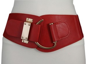 Alwaystyle4you Women Belt Wide Elastic Band Red Hip Waist Gold Hook Buckle Size L XL