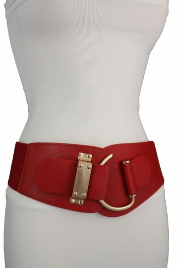 Alwaystyle4you Women Belt Wide Elastic Band Red Hip Waist Gold Hook Buckle Size L XL Image 2