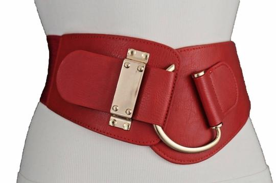 Alwaystyle4you Women Belt Wide Elastic Band Red Hip Waist Gold Hook Buckle Size L XL Image 4