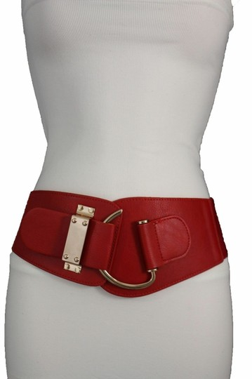 Alwaystyle4you Women Belt Wide Elastic Band Red Hip Waist Gold Hook Buckle Size L XL Image 5