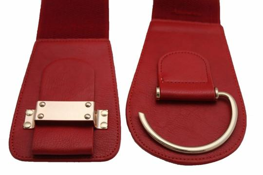 Alwaystyle4you Women Belt Wide Elastic Band Red Hip Waist Gold Hook Buckle Size L XL Image 6