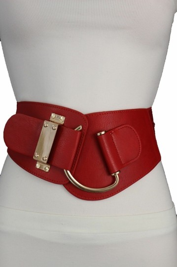Alwaystyle4you Women Belt Wide Elastic Band Red Hip Waist Gold Hook Buckle Size L XL Image 7