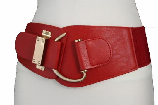 Alwaystyle4you Women Belt Wide Elastic Band Red Hip Waist Gold Hook Buckle Size L XL Image 8