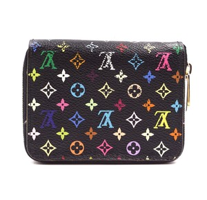 Louis Vuitton black multicolor Monogram Square Zip around card holder case wallet