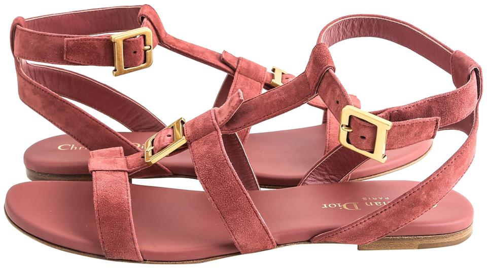b325e618730 Dior Red Double-d In Suede Calfskin Burgundy Sandals Size US 9 Regular (M,  B) 16% off retail