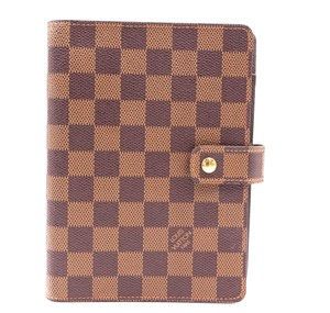Louis Vuitton damier ebene 6 Ring agenda MM check book wallet holder card