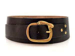 Gucci Gucci Black Extra Wide Leather Belt