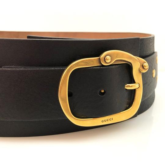 Gucci Gucci Black Extra Wide Leather Belt Image 2