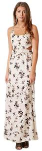 White Maxi Dress by Honey Punch Rayon Challis Floral Cross-back Aline
