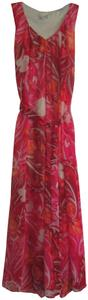 Coldwater Creek Pleated V-neck Floral Print Sash Belt Chiffon Fabric Full Skirt Dress