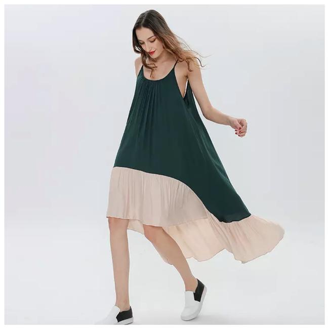 Item - Green & Cream The Isona Flowing Asymmetrical Mid-length Short Casual Dress Size OS (one size)