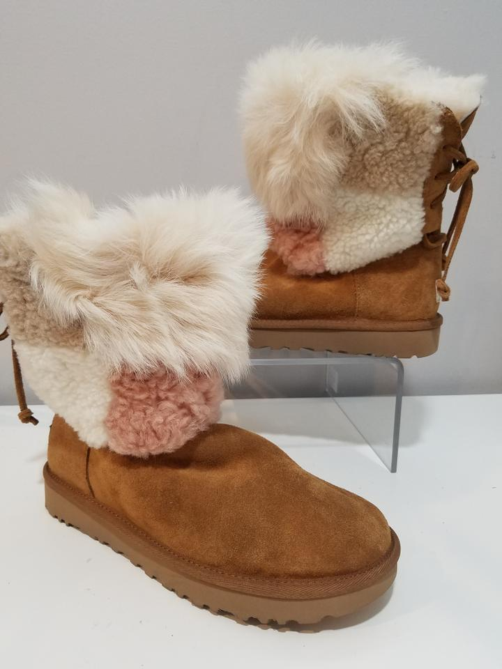 4869a91885f UGG Australia Tan Classic Short Patchwork Fluff Boots/Booties Size US 7  Regular (M, B) 39% off retail