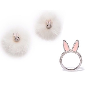 Kate Spade Make Magic Bunny Rabbit Earrings & Ring Set