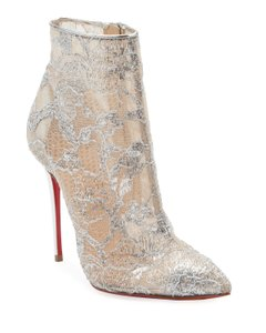 Christian Louboutin Ankle Heels Lace Gipsy Silver Boots