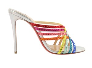 Christian Louboutin Strappy Strass Crystal Rainbow Silver Mules