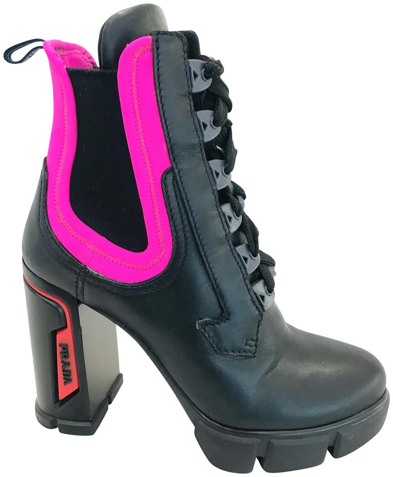 1179d4465bc Prada Black Pink Neoprene Neon Lace Up Runway Ankle Boots/Booties Size EU  35 (Approx. US 5) Regular (M, B)