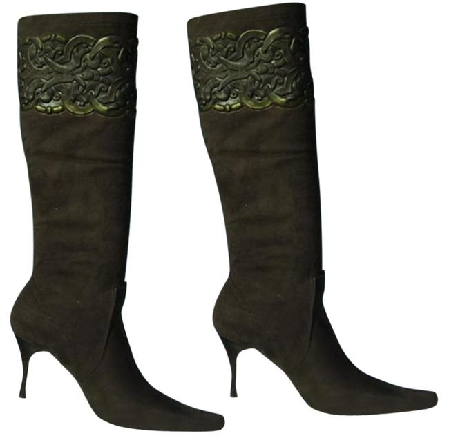 Item - Expresso Brown Black Couture Stretch Suede Leather New Scroll Work Boots/Booties Size US 6 Regular (M, B)
