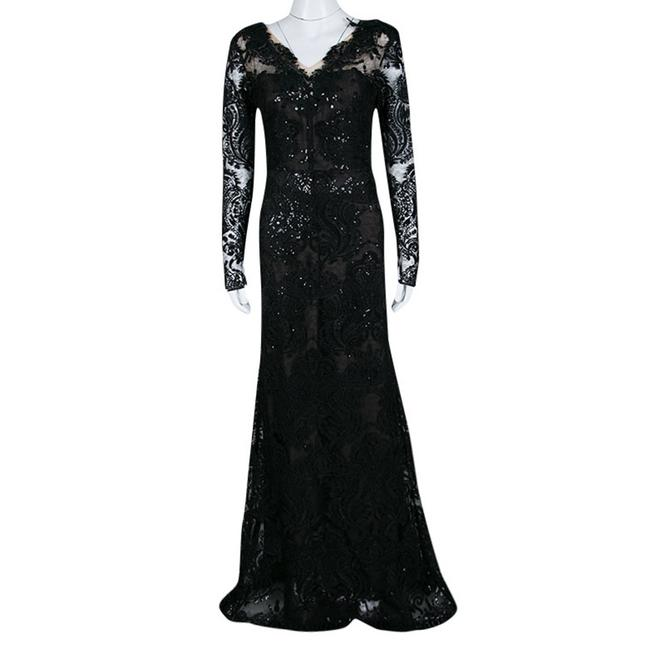 Black Maxi Dress by Marchesa Notte Detail Embroidered Embellished Image 1