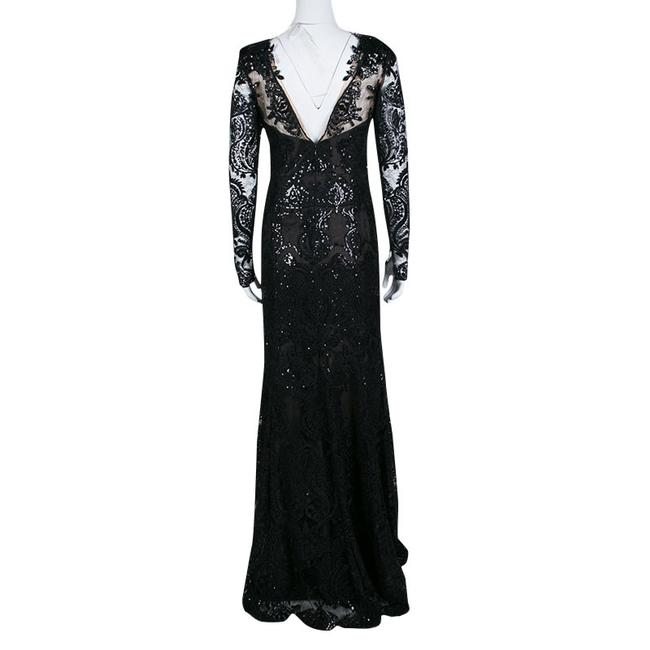Black Maxi Dress by Marchesa Notte Detail Embroidered Embellished Image 2