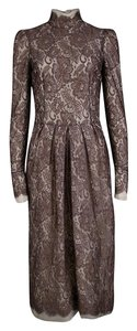 Brown Maxi Dress by Dolce&Gabbana Scalloped Nylon Rayon Longsleeve