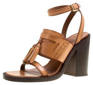 Burberry Leather Tassels Detail Brown Sandals