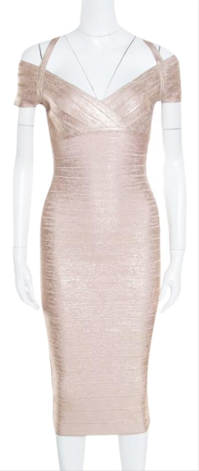 73f413f1f9ea6 Hervé Leger Gold Rose Woodgrain Foil Bodycon Kelis Mid-length Night ...