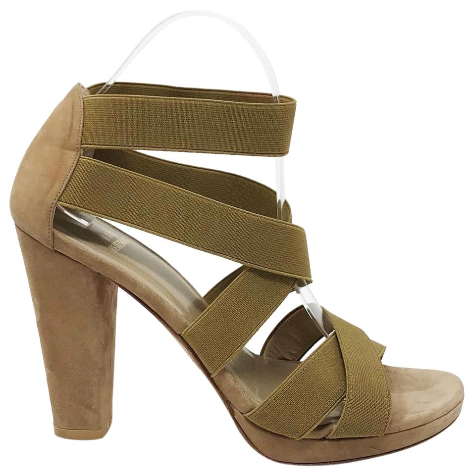 to buy sophisticated technologies best sell Stuart Weitzman Tan Army Green Olive Green Suede Elastic Band Strappy Heels  Sandals Size US 8.5 Regular (M, B) 85% off retail