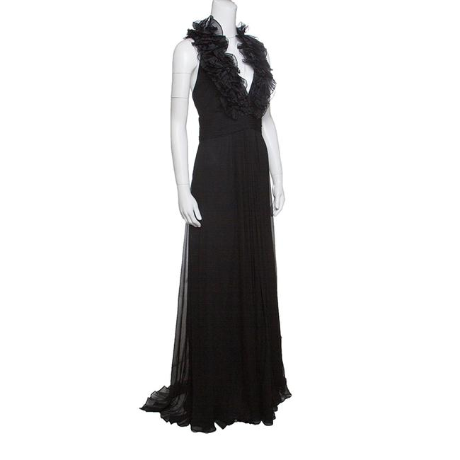 Black Maxi Dress by Marchesa Notte Chiffon Ruffle Detail Image 1