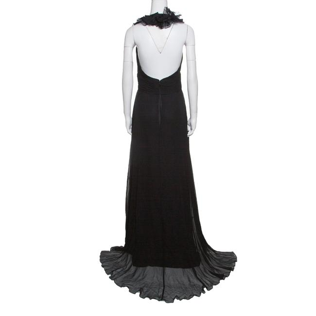 Black Maxi Dress by Marchesa Notte Chiffon Ruffle Detail Image 2