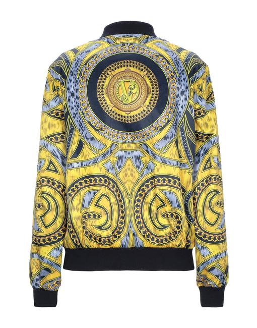 Versace Jeans Collection Designer Italian Bomber Yellow Multicolor Jacket Image 1