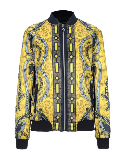 Versace Jeans Collection Designer Italian Bomber Yellow Multicolor Jacket Image 2