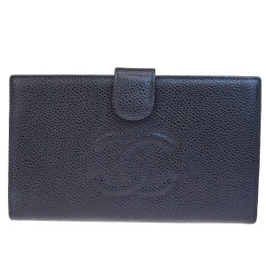 Chanel Authentic CHANEL CC Long Bifold Wallet Purse Caviar Skin Leather Black