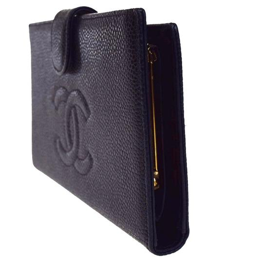 Chanel Authentic CHANEL CC Long Bifold Wallet Purse Caviar Skin Leather Black Image 1