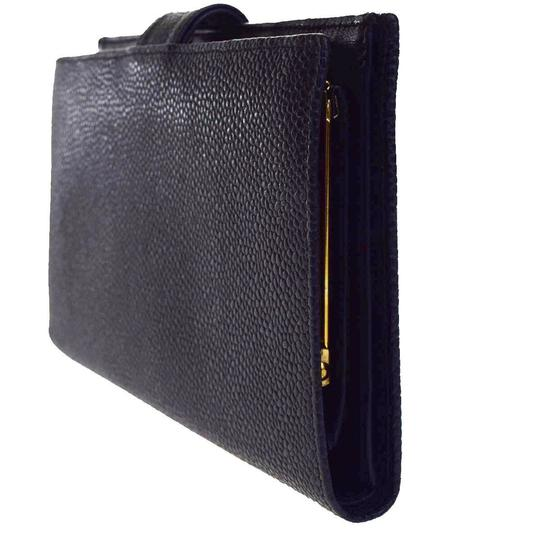 Chanel Authentic CHANEL CC Long Bifold Wallet Purse Caviar Skin Leather Black Image 2