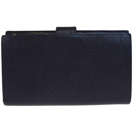 Chanel Authentic CHANEL CC Long Bifold Wallet Purse Caviar Skin Leather Black Image 3