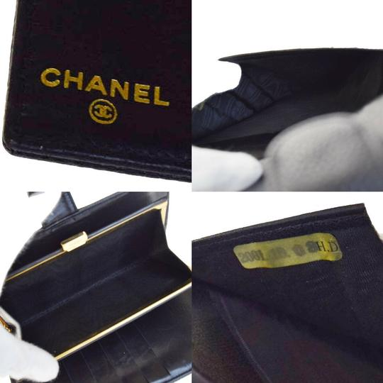 Chanel Authentic CHANEL CC Long Bifold Wallet Purse Caviar Skin Leather Black Image 7