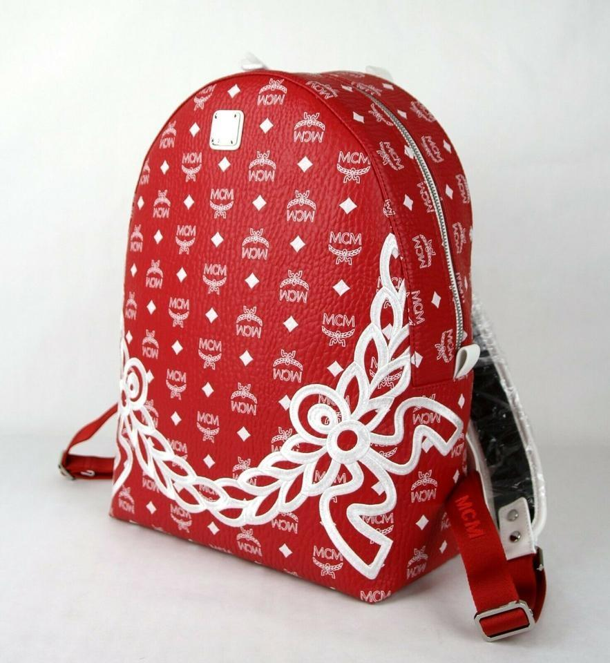 Mcm Backpack Logo New Red Coated Canvas Weekend Travel Bag