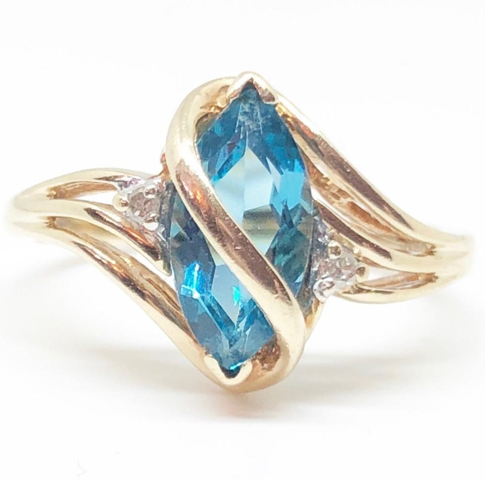 Jared Gold Blue 10k Yellow Genuine Marquise Cut Topaz Ring 78% off retail