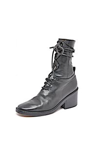 Ann Demeulemeester Leather Mid Calf Black Boots