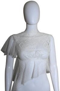 Lisa Nieves Lace Crop Peplum Top Off white