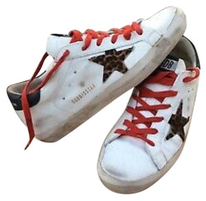 Golden Goose Deluxe Brand white red leopard Athletic