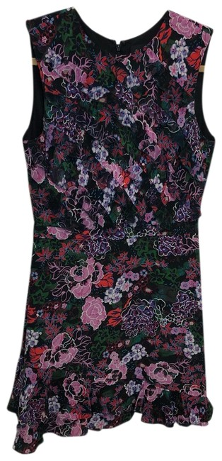 Item - Black and Floral Short Cocktail Dress Size 6 (S)