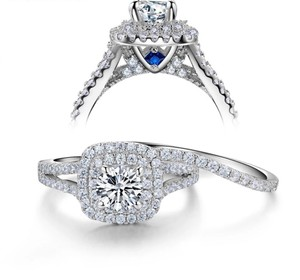 2 Pcs 1.8ct Solid 925 Sterling Silver Victorian Style Blue Side Stones Sizes 5-10 Women's Wedding Band Set