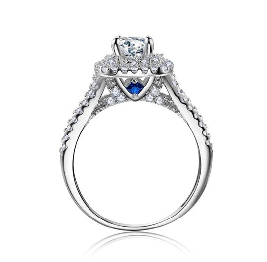 2 Pcs 1.8ct Solid 925 Sterling Silver Victorian Style Blue Side Stones Sizes 5-10 Women's Wedding Band Set Image 2