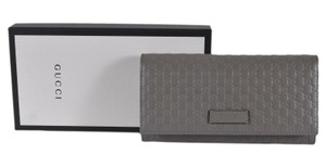 Gucci New Gucci Women's 449396 Grey Leather Micro GG Continental Wallet