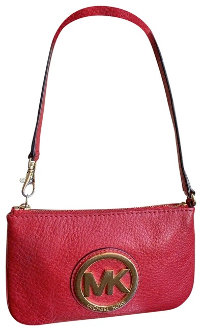 Item - Mk Small Pochette Red Leather Wristlet