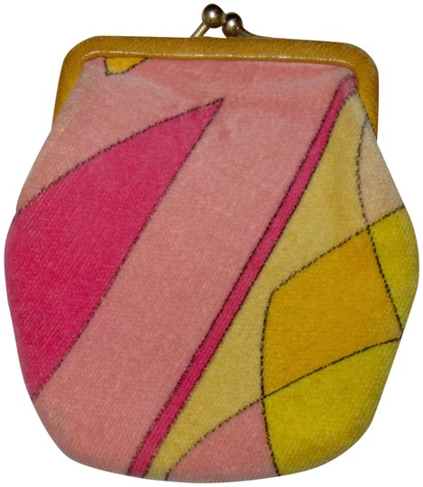 Preload https://img-static.tradesy.com/item/25664302/emilio-pucci-pink-and-yellow-vintage-velvet-change-purse-case-kiss-clasp-60s-cosmetic-bag-0-1-540-540.jpg